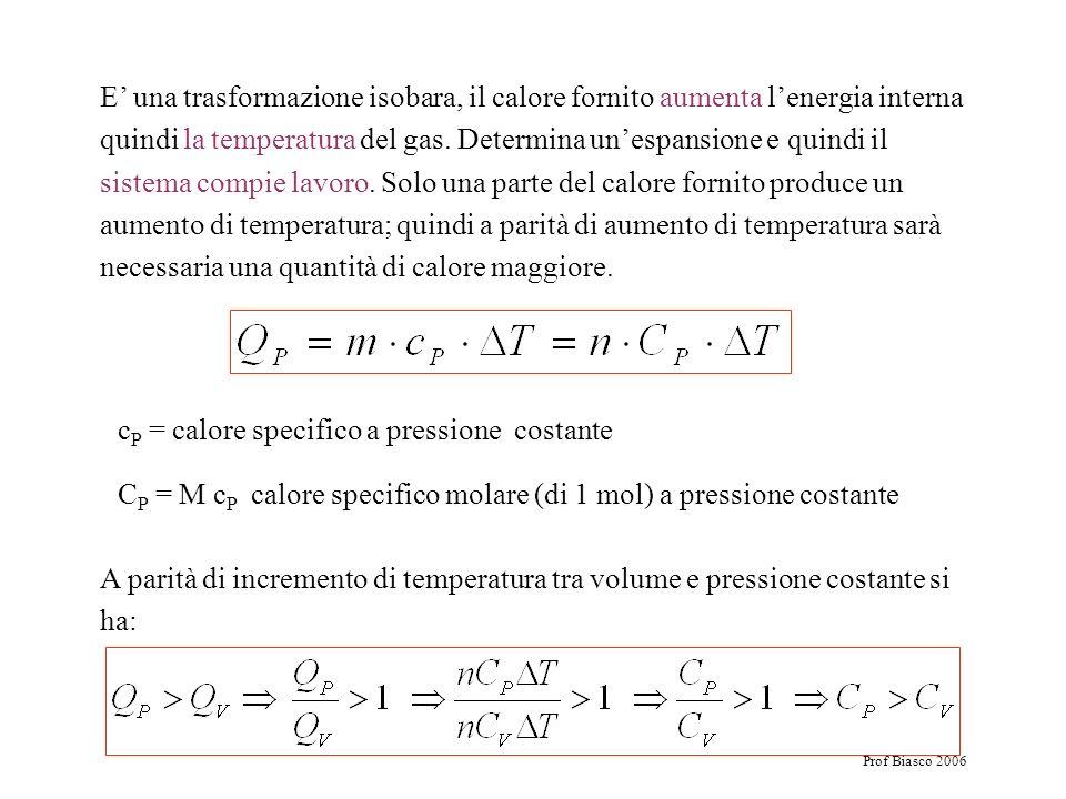 cP = calore specifico a pressione costante