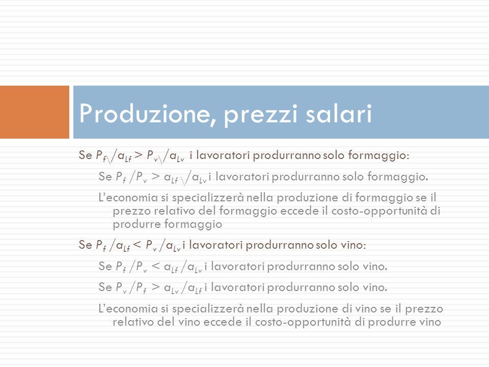 Produzione, prezzi salari