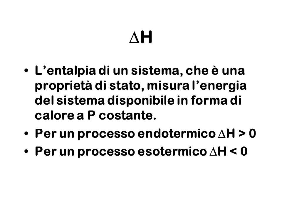 DH L'entalpia di un sistema, che è una proprietà di stato, misura l'energia del sistema disponibile in forma di calore a P costante.
