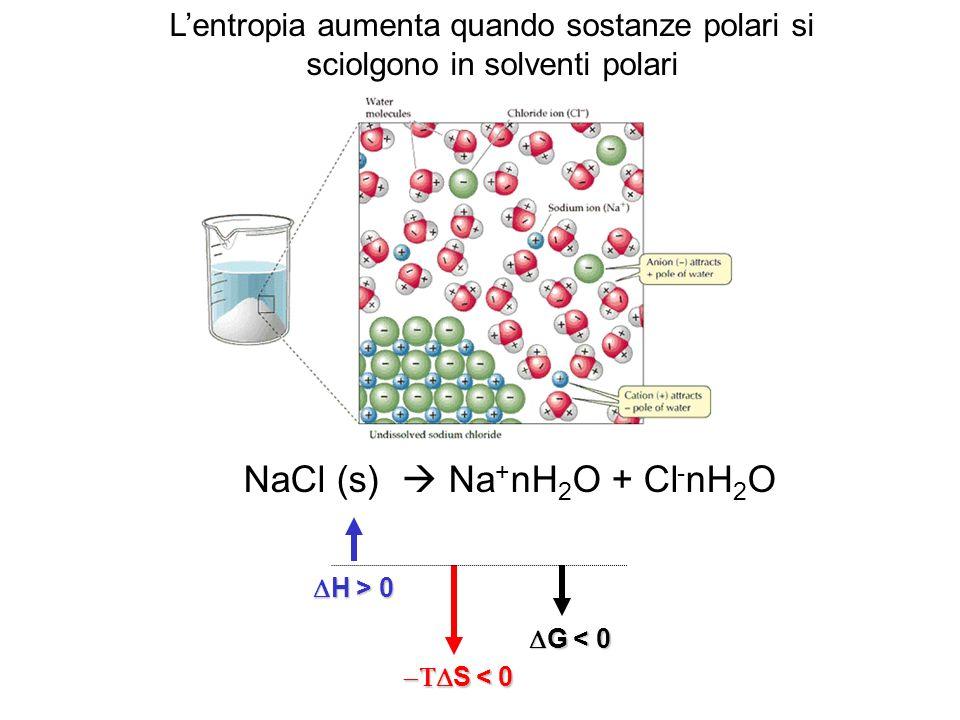 NaCl (s)  Na+nH2O + Cl-nH2O