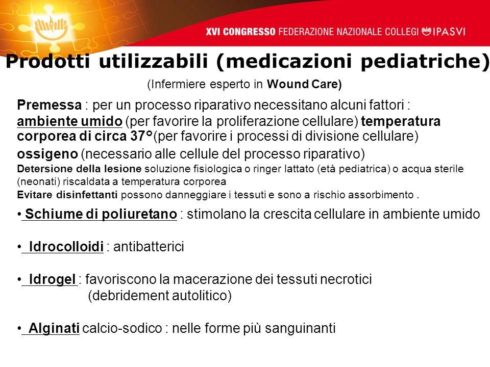Prodotti utilizzabili (medicazioni pediatriche)