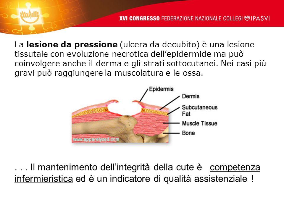 La lesione da pressione (ulcera da decubito) è una lesione tissutale con evoluzione necrotica dell'epidermide ma può coinvolgere anche il derma e gli strati sottocutanei. Nei casi più gravi può raggiungere la muscolatura e le ossa.