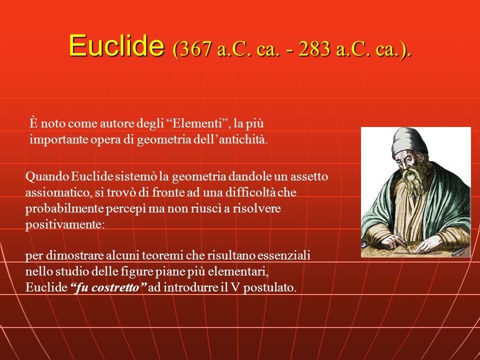 Euclide (367 a.C. ca. - 283 a.C. ca.). È noto come autore degli Elementi , la più importante opera di geometria dell'antichità.
