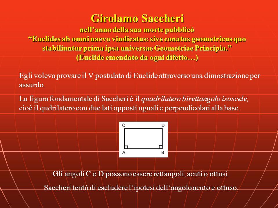 Girolamo Saccheri nell'anno della sua morte pubblicò Euclides ab omni naevo vindicatus: sive conatus geometricus quo stabiliuntur prima ipsa universae Geometriae Principia. (Euclide emendato da ogni difetto…)