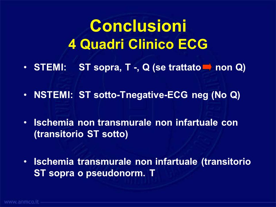 Conclusioni 4 Quadri Clinico ECG