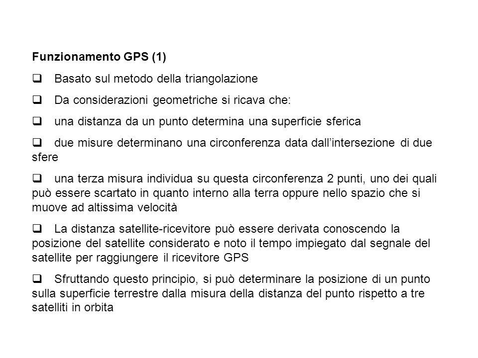 Funzionamento GPS (1) q Basato sul metodo della triangolazione. q Da considerazioni geometriche si ricava che: