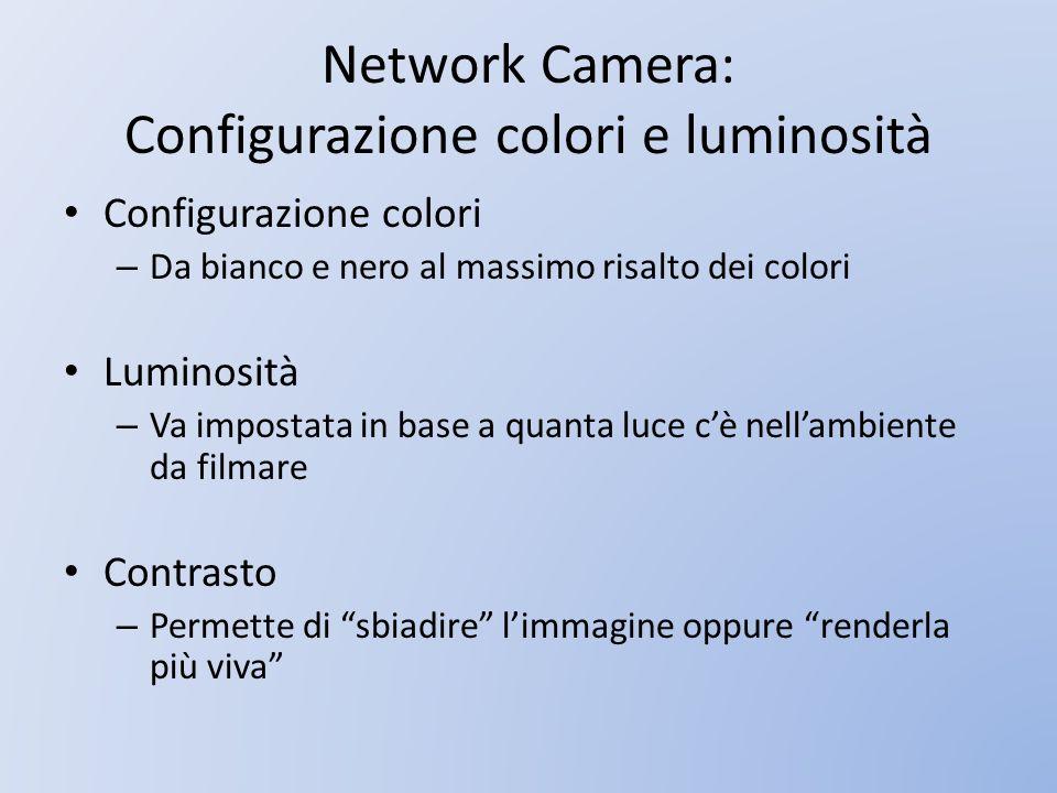 Network Camera: Configurazione colori e luminosità