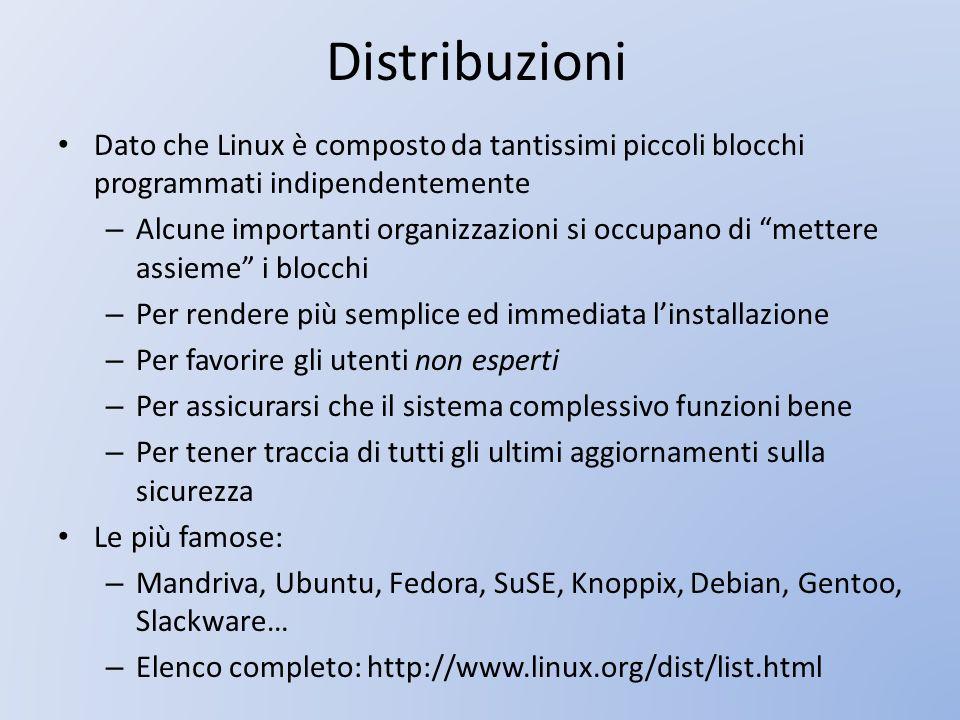 Distribuzioni Dato che Linux è composto da tantissimi piccoli blocchi programmati indipendentemente.