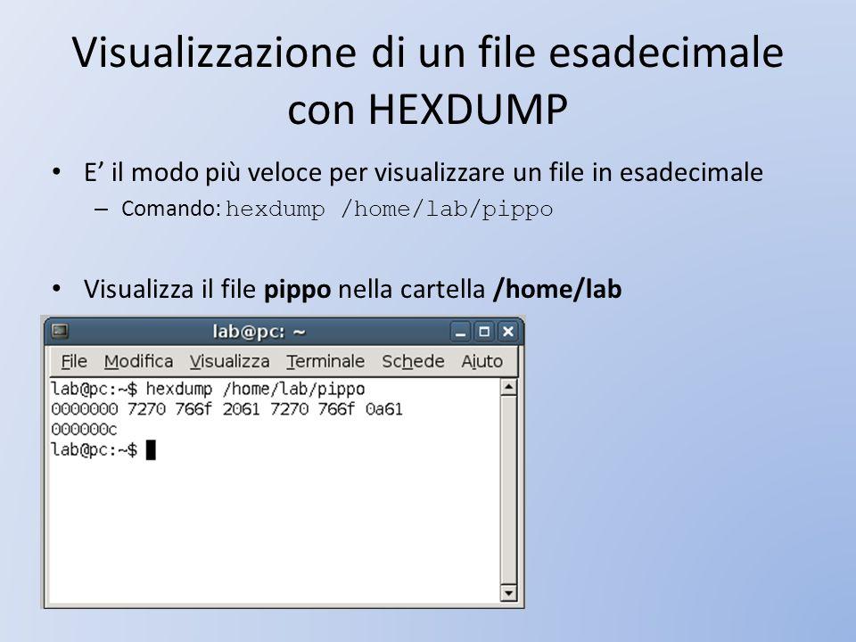 Visualizzazione di un file esadecimale con HEXDUMP