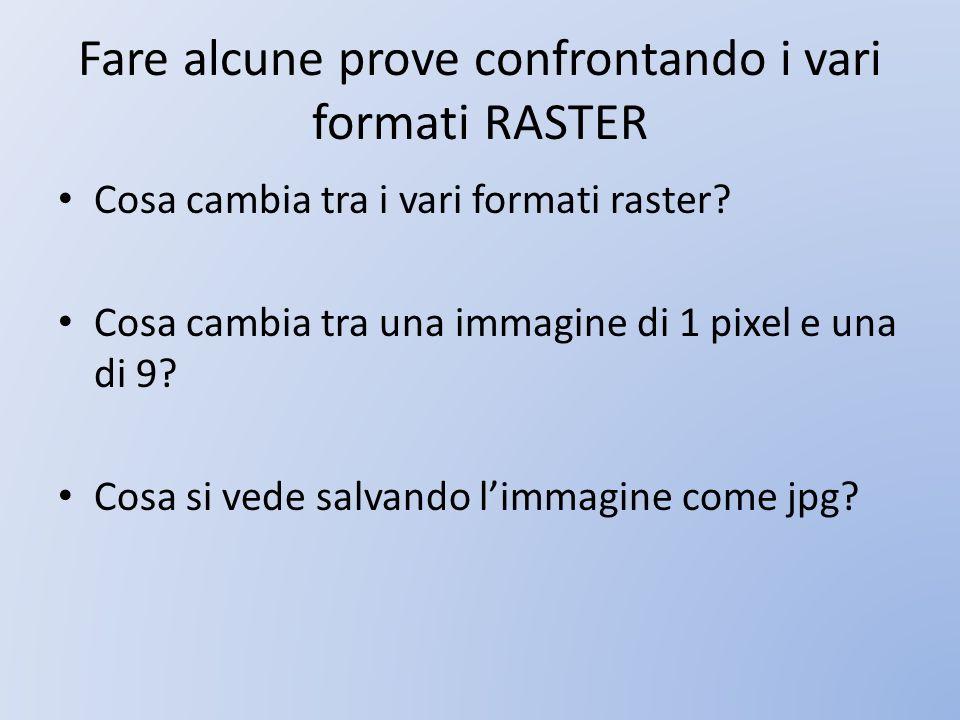 Fare alcune prove confrontando i vari formati RASTER