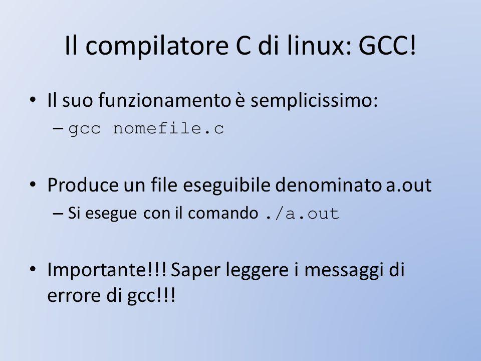 Il compilatore C di linux: GCC!