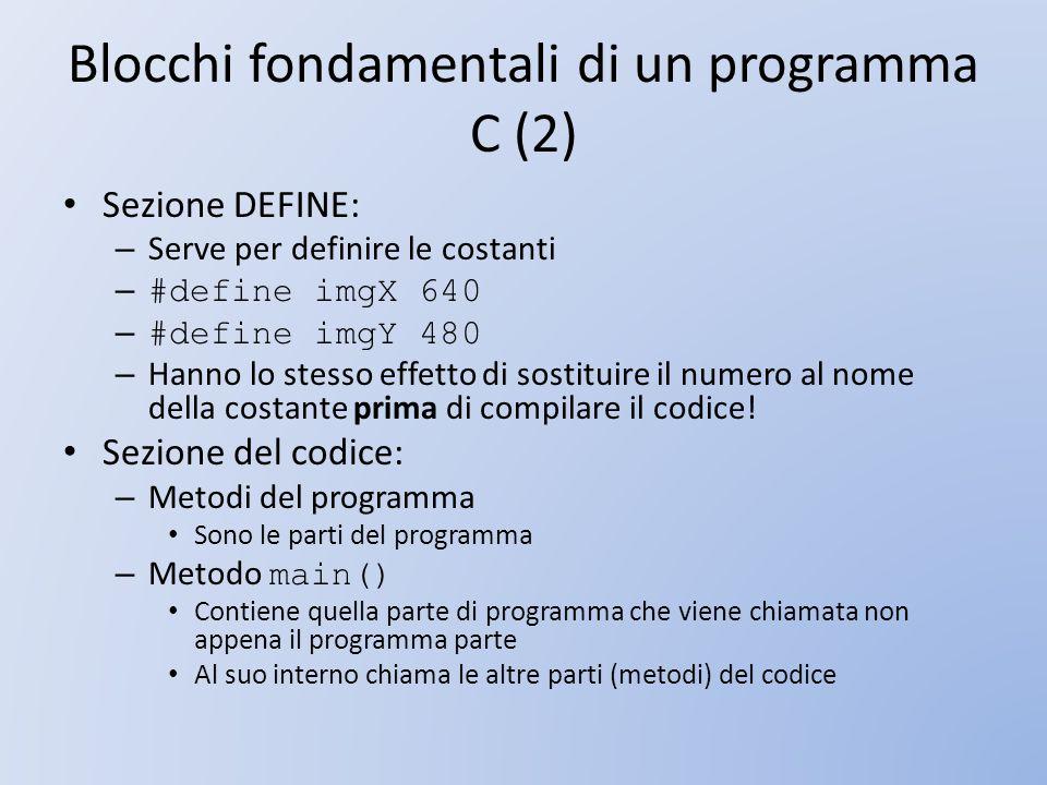 Blocchi fondamentali di un programma C (2)