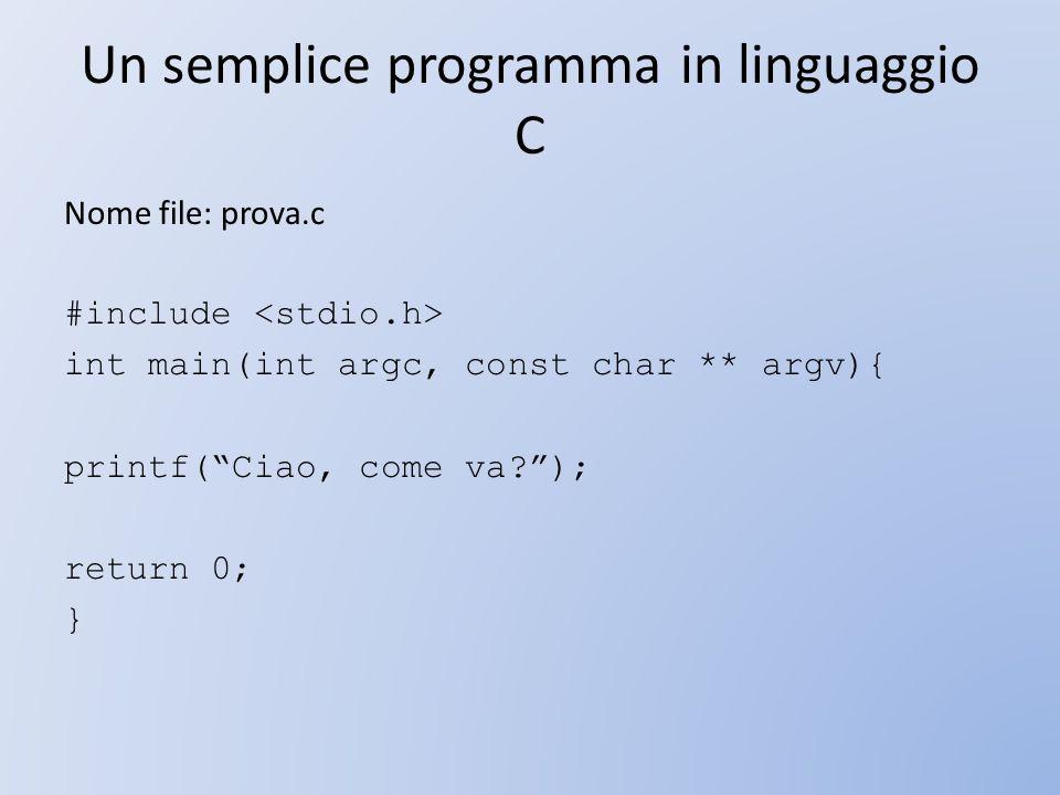 Un semplice programma in linguaggio C