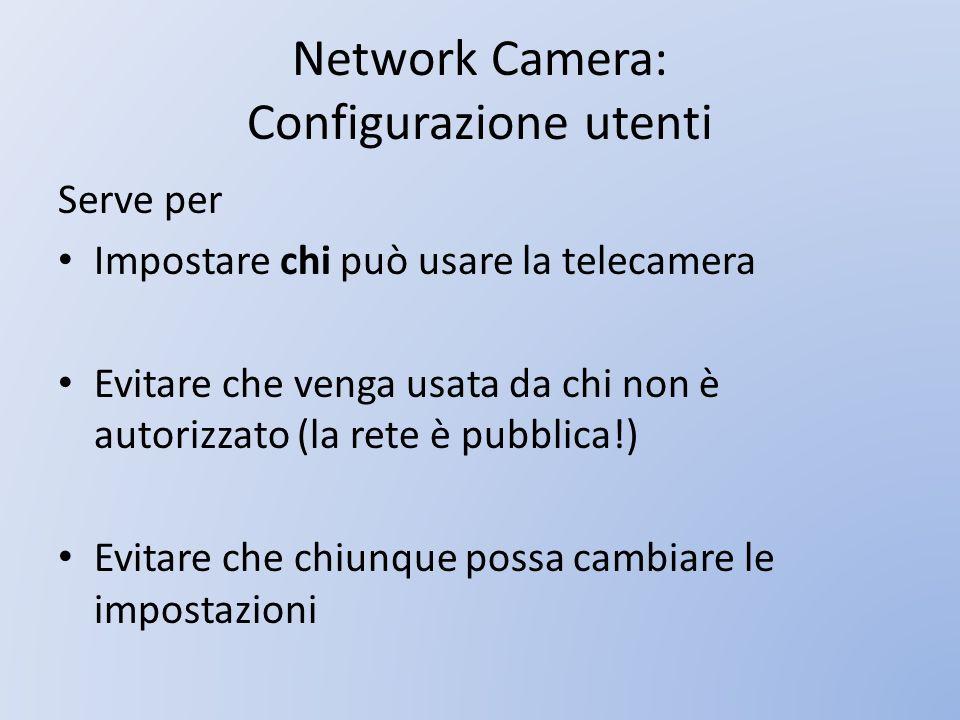 Network Camera: Configurazione utenti