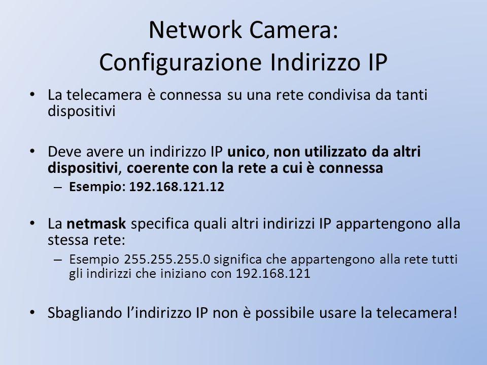 Network Camera: Configurazione Indirizzo IP