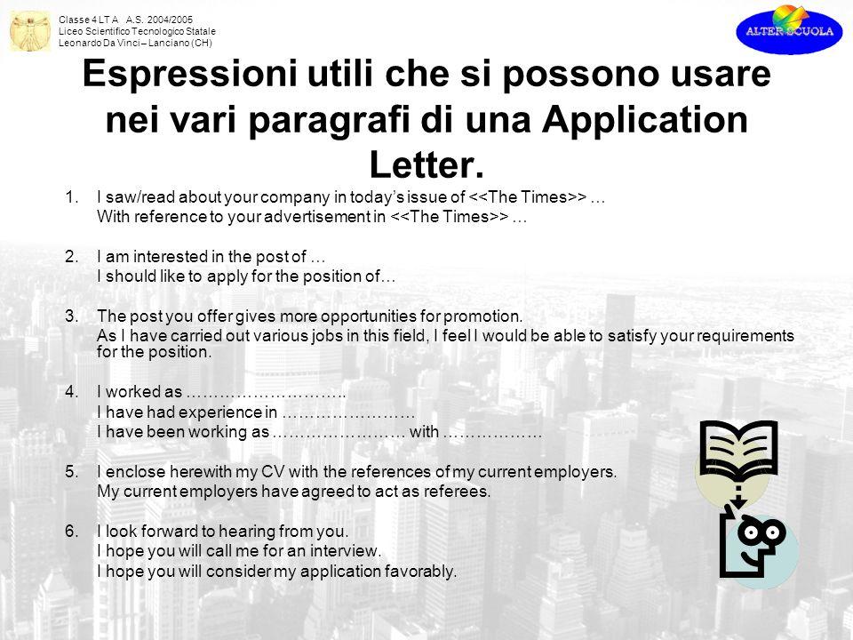 Espressioni utili che si possono usare nei vari paragrafi di una Application Letter.