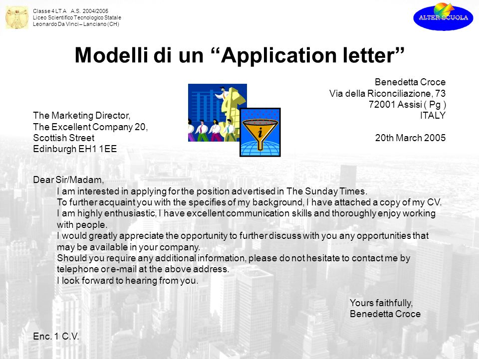 Modelli di un Application letter