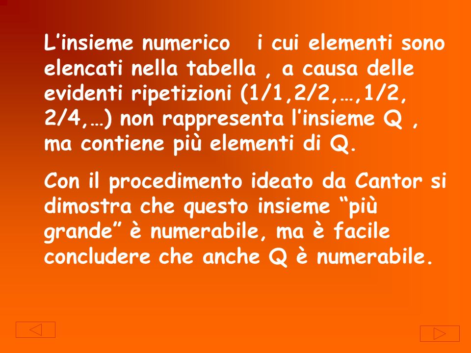 L'insieme numerico i cui elementi sono elencati nella tabella , a causa delle evidenti ripetizioni (1/1,2/2,…,1/2, 2/4,…) non rappresenta l'insieme Q , ma contiene più elementi di Q.