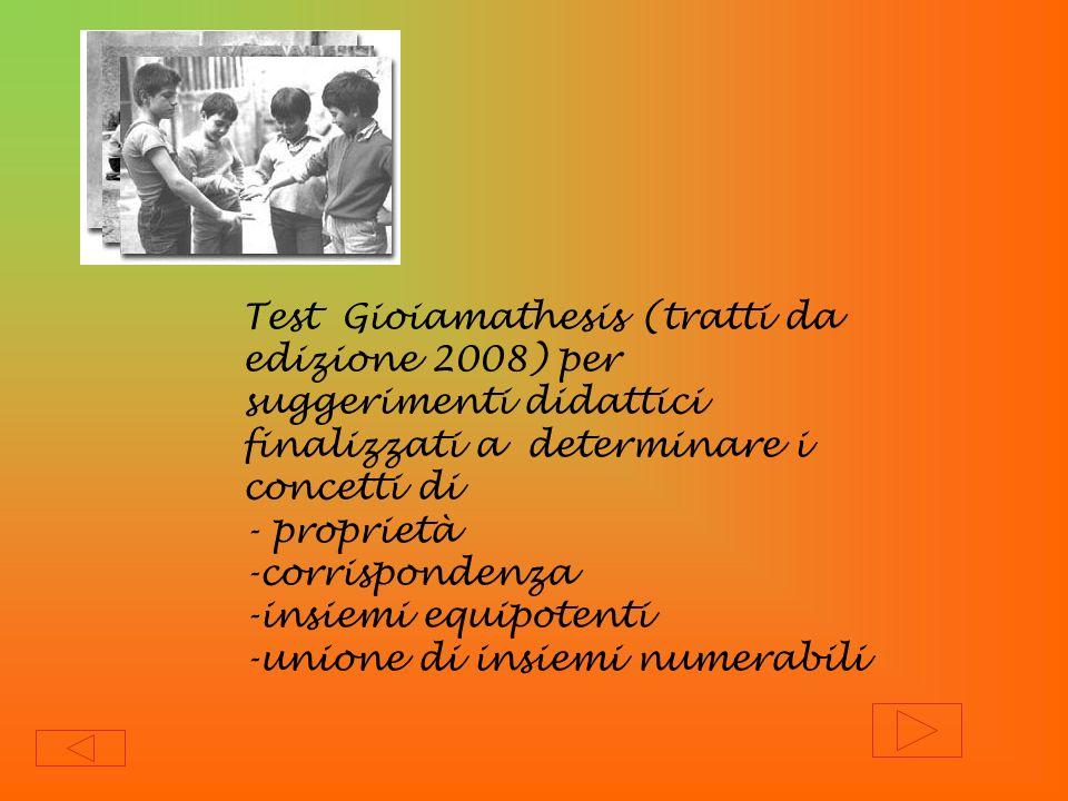 Test Gioiamathesis (tratti da edizione 2008) per suggerimenti didattici finalizzati a determinare i concetti di