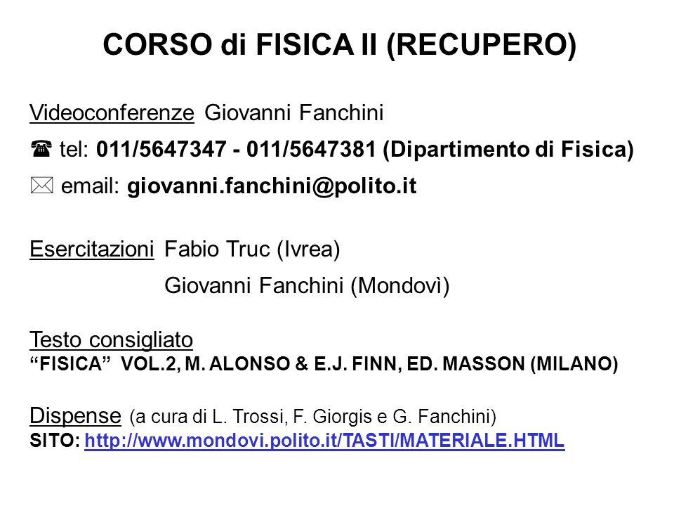 CORSO di FISICA II (RECUPERO)