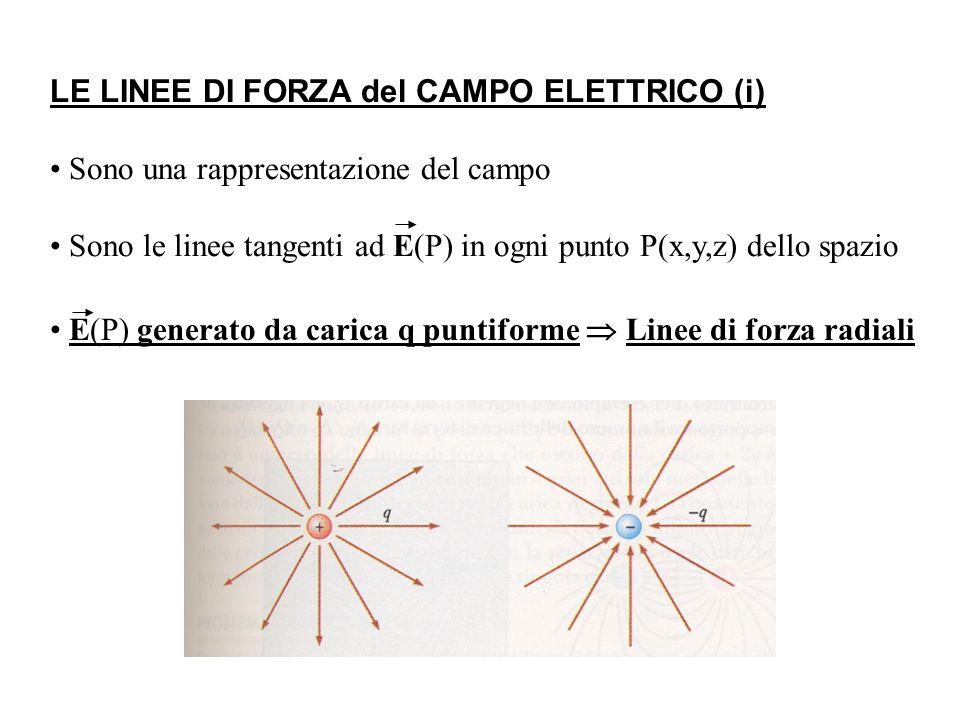 E(P) generato da carica q puntiforme  Linee di forza radiali