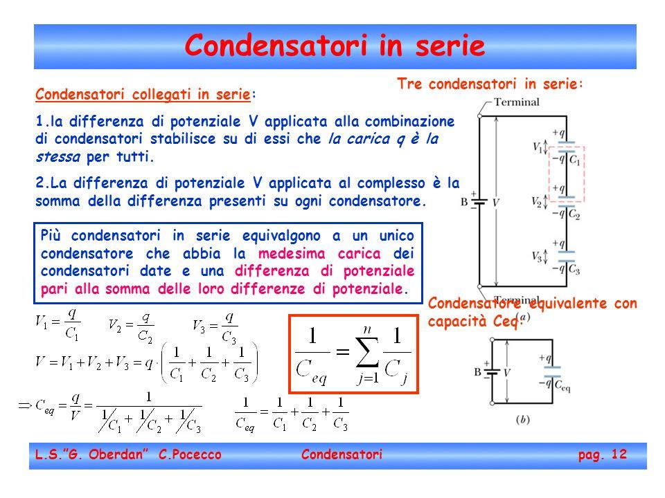 Condensatori in serie Tre condensatori in serie: