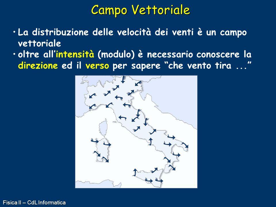 Campo Vettoriale La distribuzione delle velocità dei venti è un campo vettoriale.