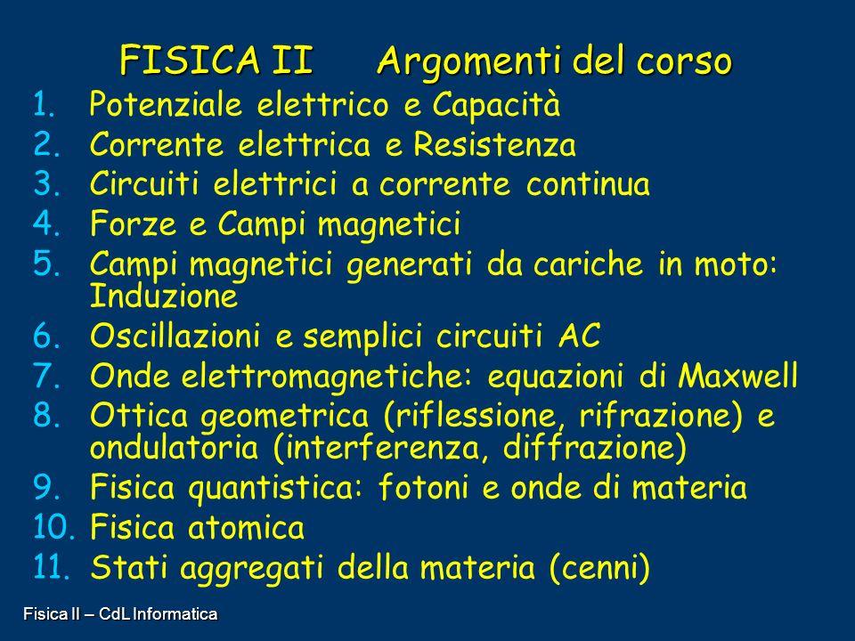 FISICA II Argomenti del corso