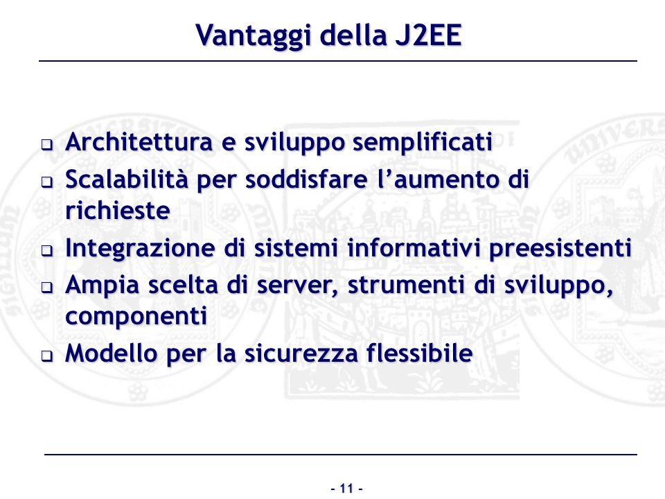 Vantaggi della J2EE Architettura e sviluppo semplificati