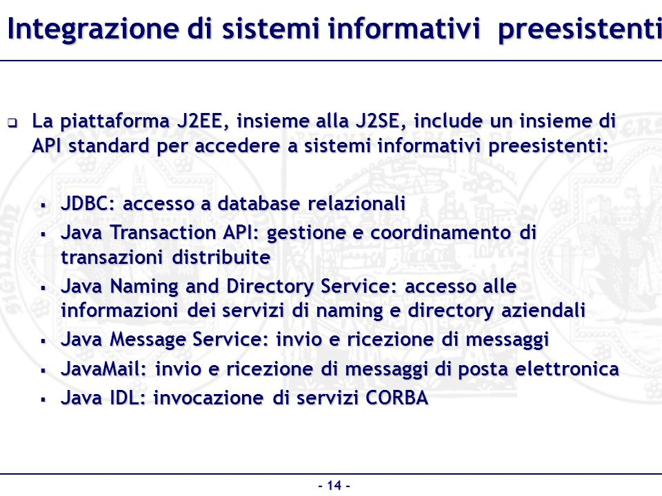 Integrazione di sistemi informativi preesistenti