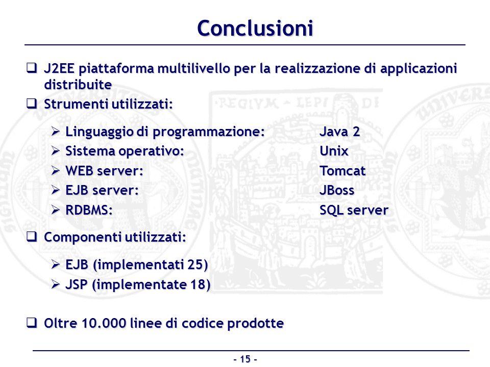 Conclusioni J2EE piattaforma multilivello per la realizzazione di applicazioni distribuite. Strumenti utilizzati: