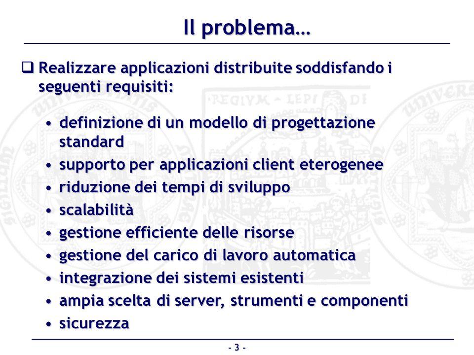 Il problema… Realizzare applicazioni distribuite soddisfando i seguenti requisiti: definizione di un modello di progettazione standard.