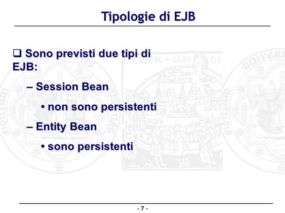 Tipologie di EJB Sono previsti due tipi di EJB: – Session Bean