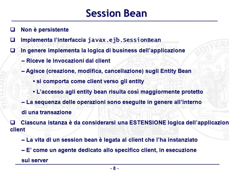 Session Bean q Non è persistente