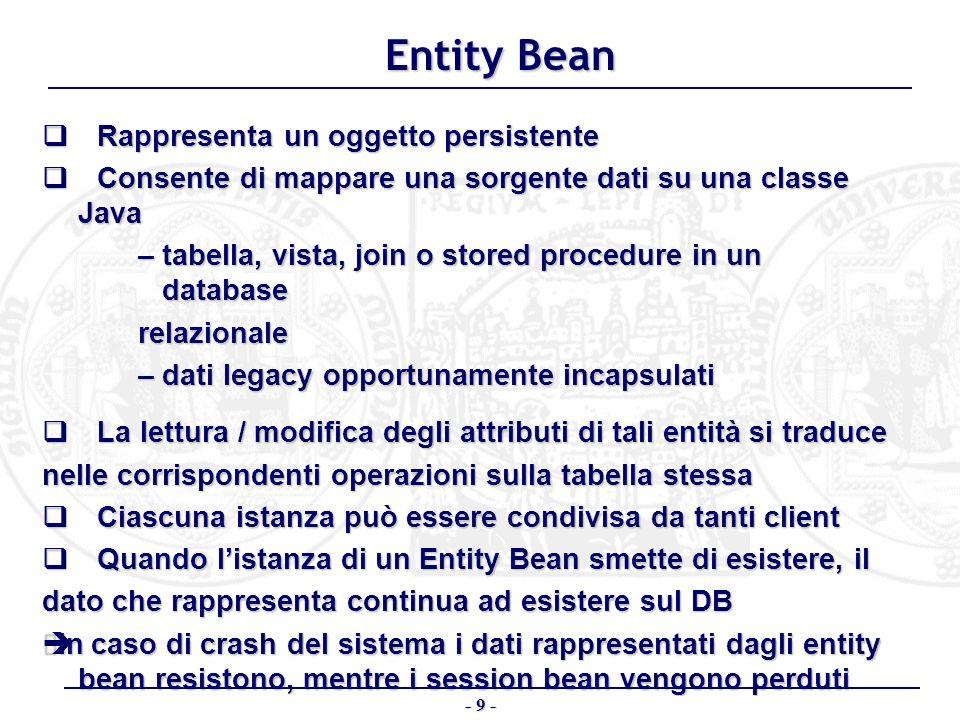 Entity Bean q Rappresenta un oggetto persistente