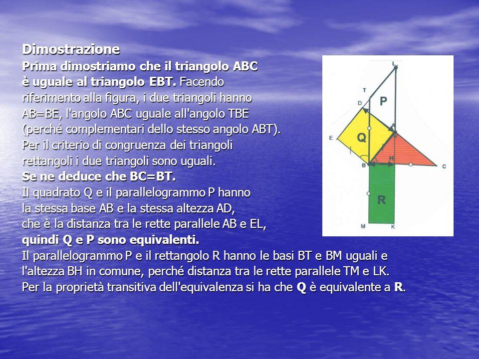 Dimostrazione Prima dimostriamo che il triangolo ABC