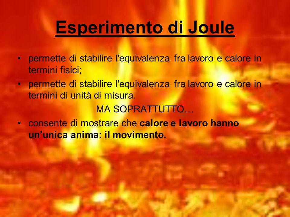 Esperimento di Joule permette di stabilire l equivalenza fra lavoro e calore in termini fisici;