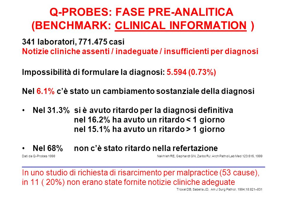 Q-PROBES: FASE PRE-ANALITICA (BENCHMARK: CLINICAL INFORMATION )