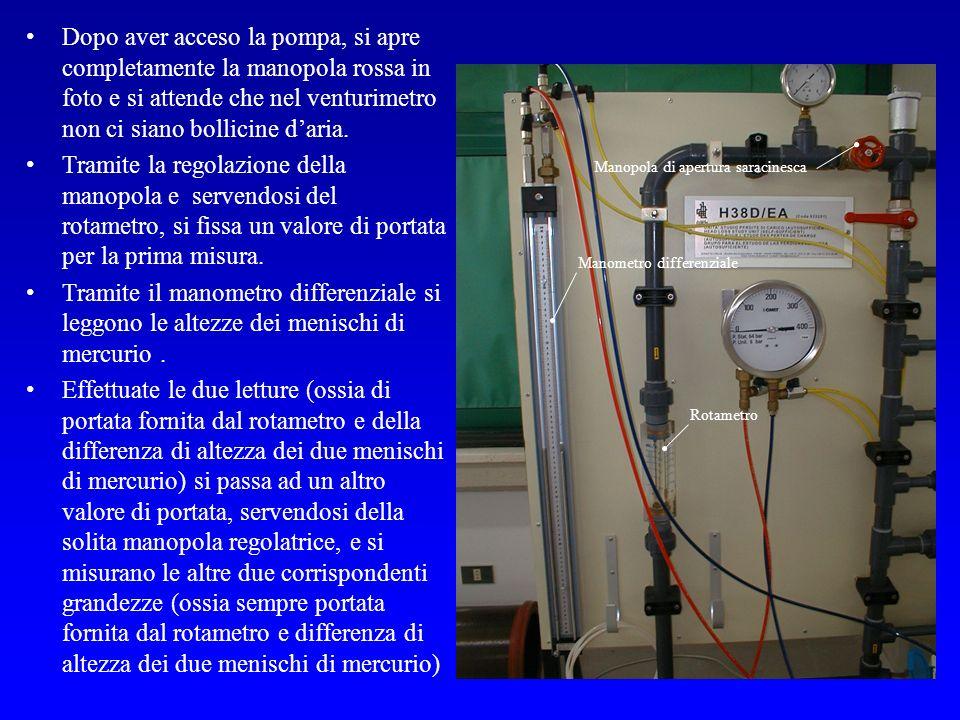 Dopo aver acceso la pompa, si apre completamente la manopola rossa in foto e si attende che nel venturimetro non ci siano bollicine d'aria.