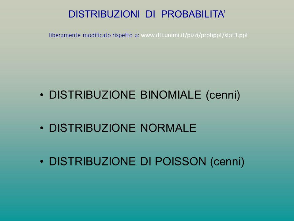 DISTRIBUZIONE BINOMIALE (cenni) DISTRIBUZIONE NORMALE