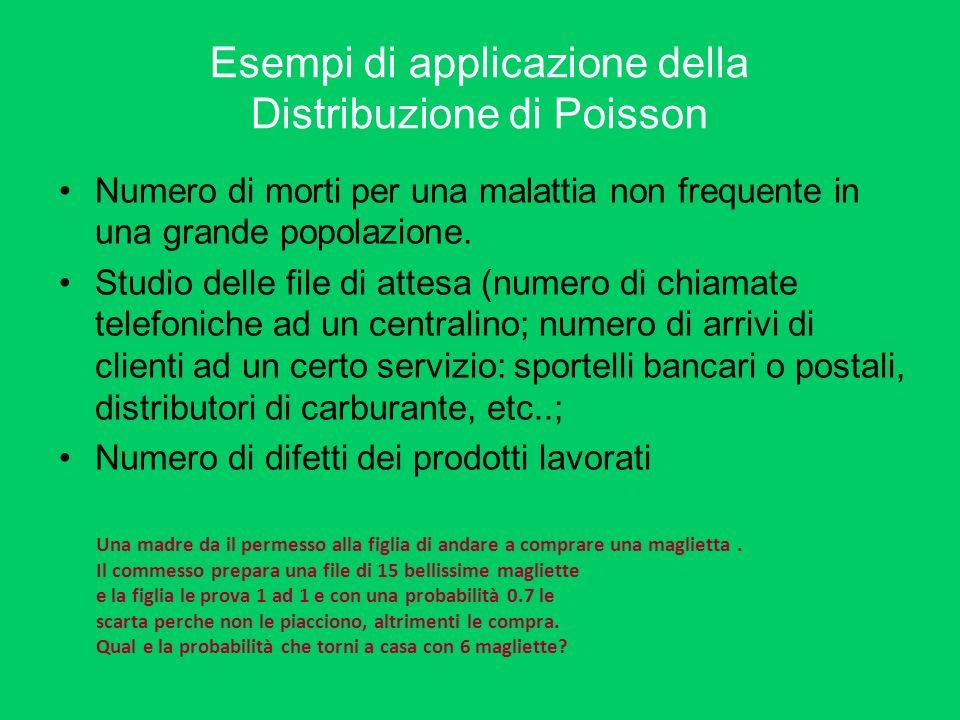 Esempi di applicazione della Distribuzione di Poisson
