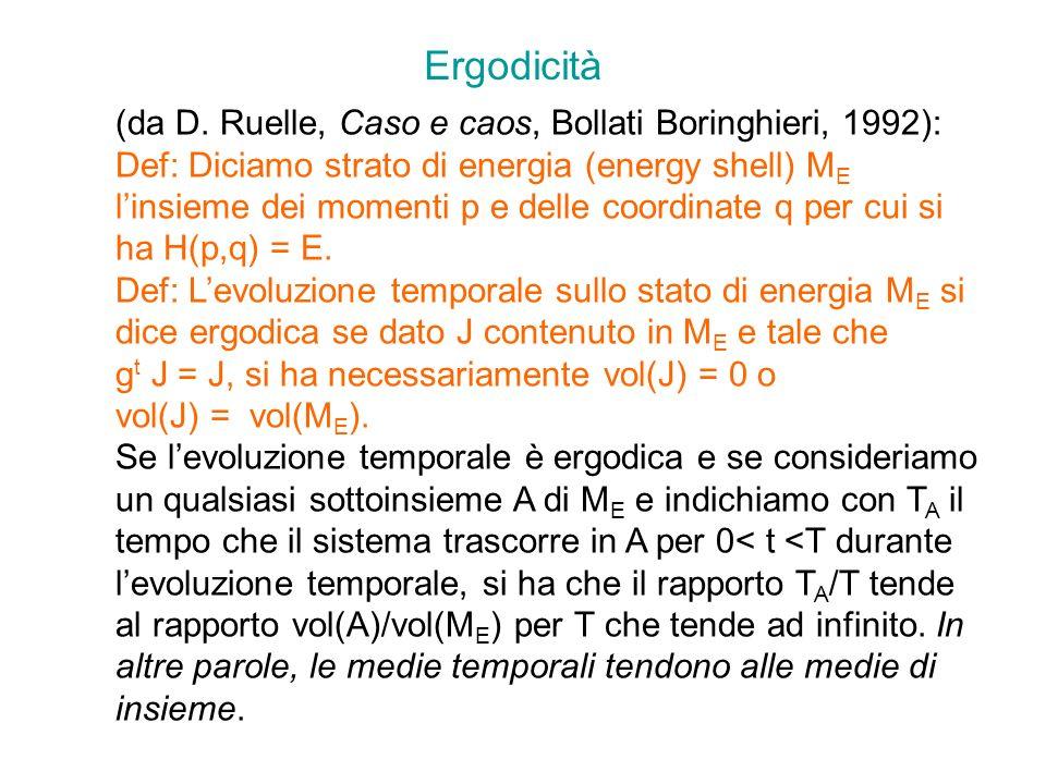 Ergodicità (da D. Ruelle, Caso e caos, Bollati Boringhieri, 1992):