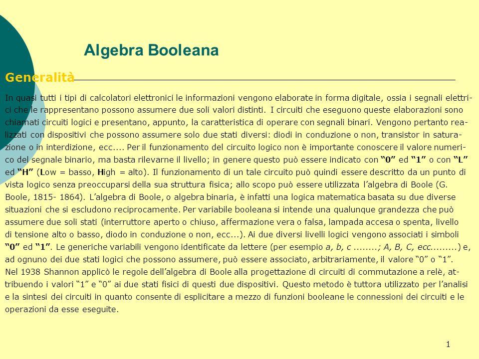 Algebra Booleana Generalità