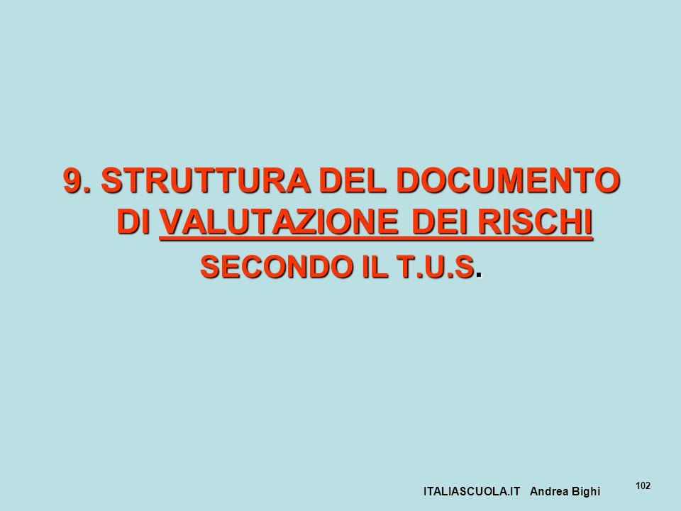 9. STRUTTURA DEL DOCUMENTO DI VALUTAZIONE DEI RISCHI