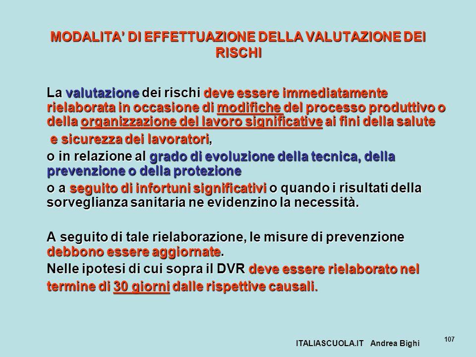 MODALITA' DI EFFETTUAZIONE DELLA VALUTAZIONE DEI RISCHI