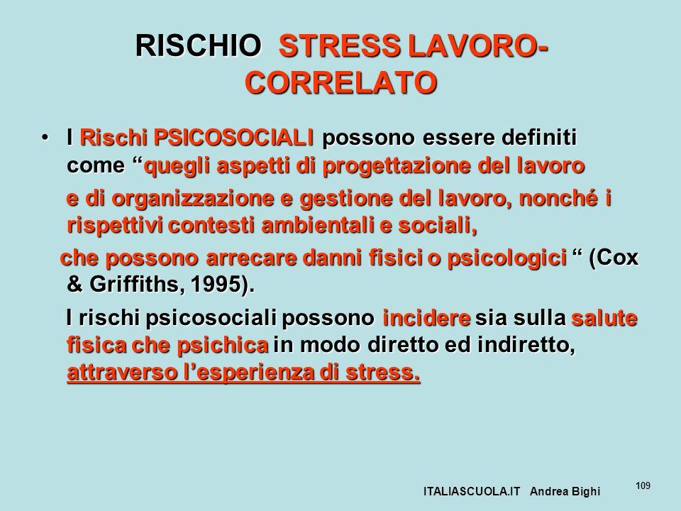 RISCHIO STRESS LAVORO-CORRELATO
