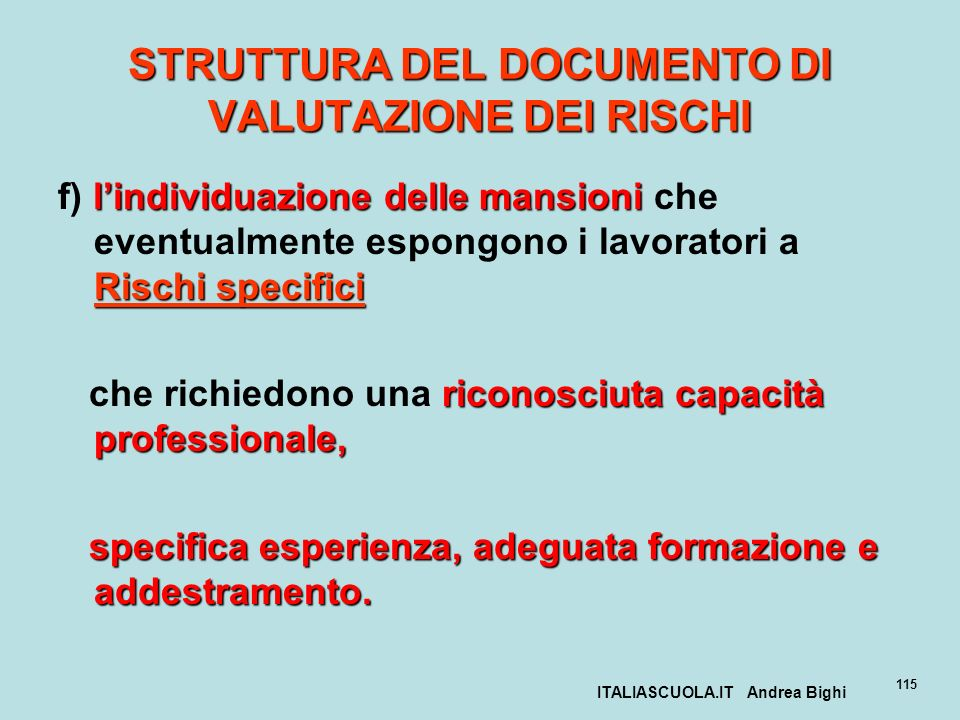 STRUTTURA DEL DOCUMENTO DI VALUTAZIONE DEI RISCHI