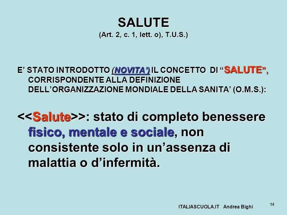 SALUTE (Art. 2, c. 1, lett. o), T.U.S.)
