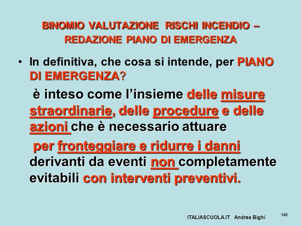 BINOMIO VALUTAZIONE RISCHI INCENDIO – REDAZIONE PIANO DI EMERGENZA