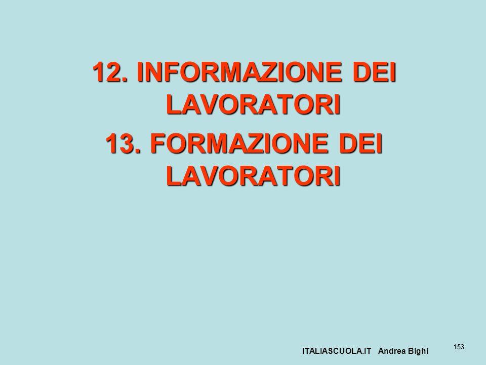 12. INFORMAZIONE DEI LAVORATORI 13. FORMAZIONE DEI LAVORATORI
